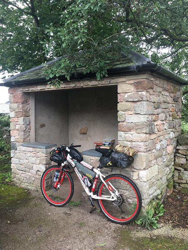 Stone bus shelter